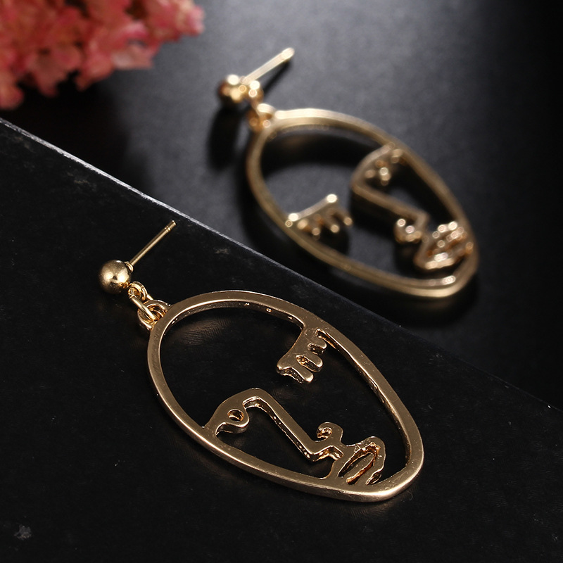 Girls Choice Earrings Retro Metal Alloy Fashion Abstract Hollow Out Dangle Earrings New earring Face 2019 New Hot04