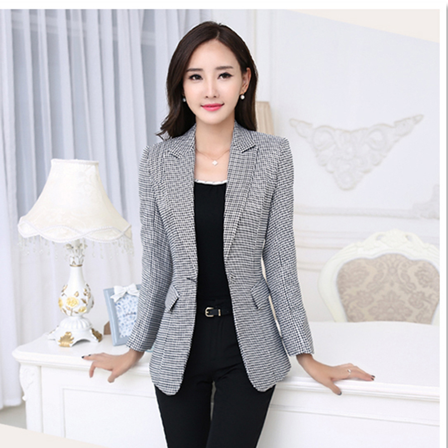 2017 ladies blazers female suit coat women jacket plus size blazer femme tailleur ladies work. Black Bedroom Furniture Sets. Home Design Ideas
