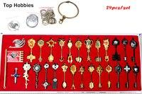 29 Sztuk/zestaw Fairy Tail Lucy Cosplay Key Brelok Scale & Darmo różowy Tatuaż Heartfilia Znak Zodiaku Złoty Klucz Wisiorki zdobywaj