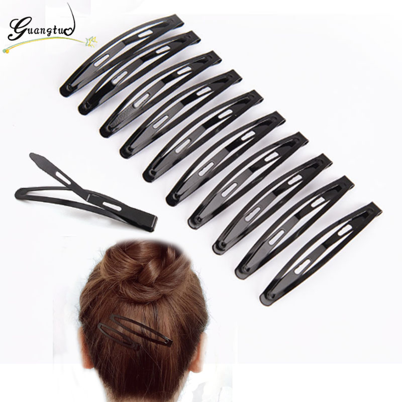 Hot New Fashion Metal Pure Black Snap Bendy Hair Clip For Women Headwear Hairpin Jewelry Wholesale