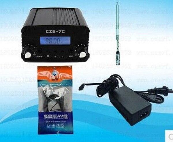 1 Вт/7 Вт стерео PLL FM-передатчик вещательная радиостанция CZE-7C 76-108 МГц + TNC-антенна + источник питания + аудиокабель