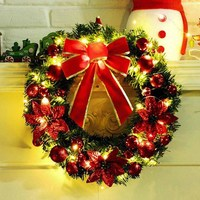 New Christmas Decoration For Home Wreath With LED Light 40CM Handmade Artificial Flowers Xmas Tree Hanging Ornament Navidad 2017