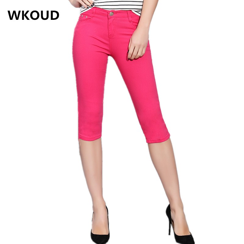 Candy Colors Summer Jeans   Capris   For Women Calf-length Skinny Pencil   Pants   Stretch Slim Denim Trousers Short   Pants   P9081