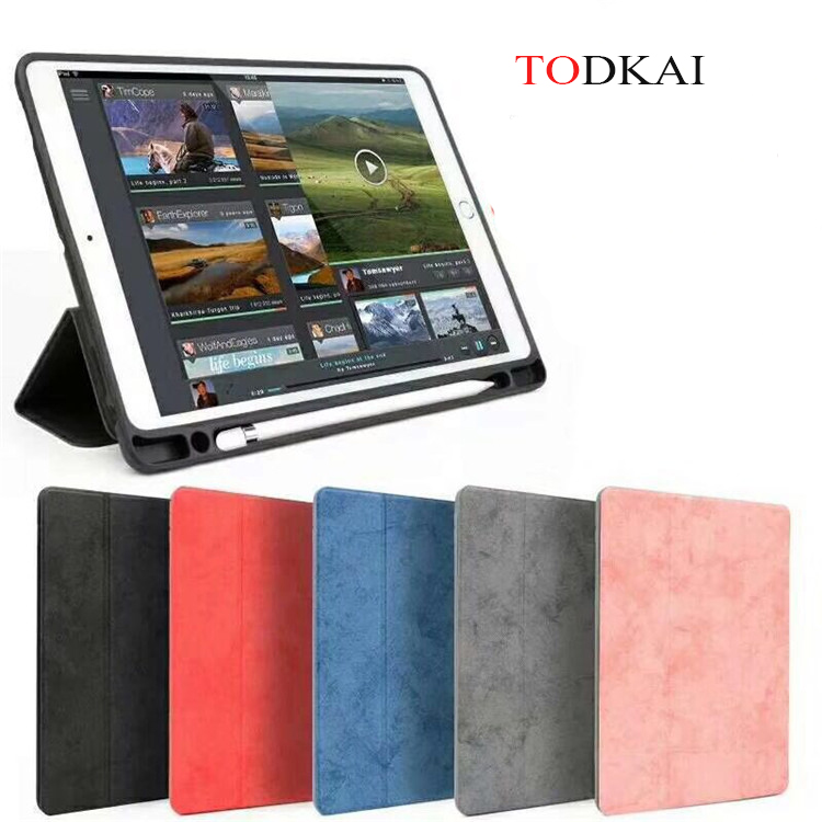 Magnet Smart case For iPad Pro 12.9 Case with Pencil Holder PU Leather TPU Soft Cover for iPad Pro 12.9 Pen Holder Case for ipad pro 12 9 2017 2015 smart tablet case cover high quality genuine leather pu folding stand case card slots pencil holder