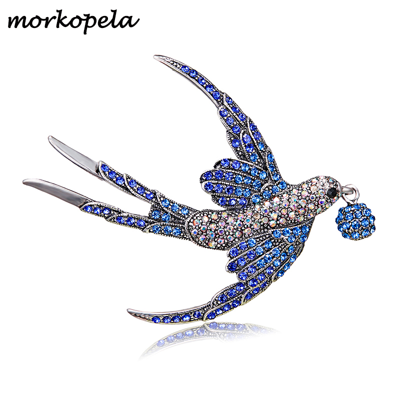 Morkopela Swallow Bird Rhinestone Brooch Beautiful Brooches Pin For Women Colorful Crystal Pins For Scarve Bouquet Jewelry(China)