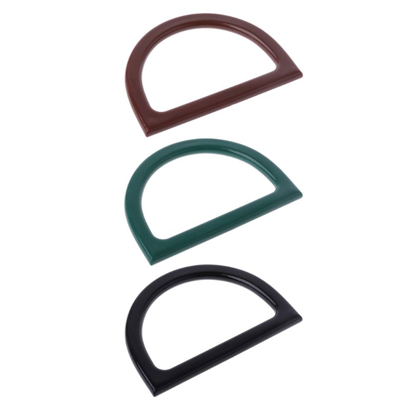 Fashion 1 Pc D Shape Plastic Bag Handle Replacement For DIY Craft Purse Making Handbag Shopping Tote Bag Accessories 3 Colors