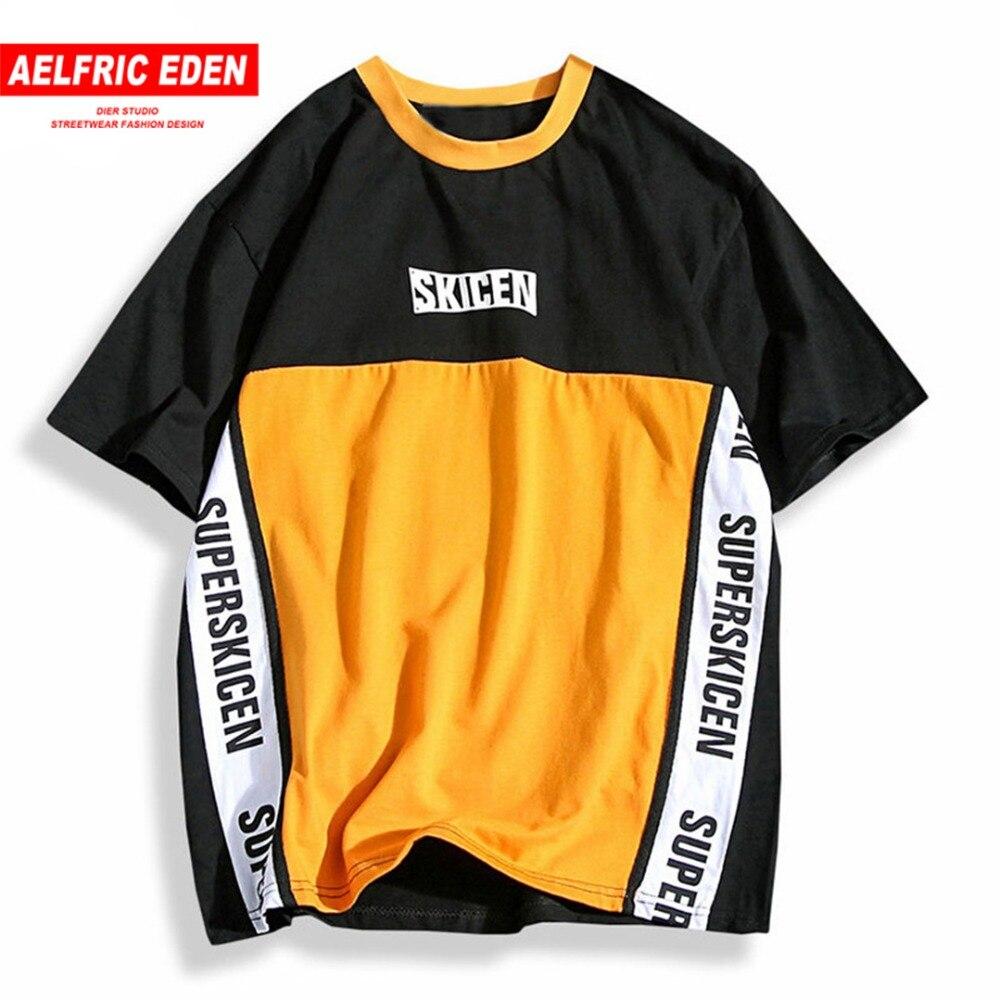 Aelfric Eden Hip Hop Skateboard Baseball Shirt Männer Brief Drucken Patchwork Farbe Lila Casual T Shirt Baumwolle Tees T-shirts PA208