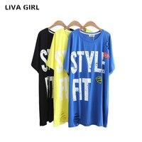 Liva Girl Plus Size Women T Shirt Summer Woman Clothes Oversize Female Letters Blusa Cotton Short