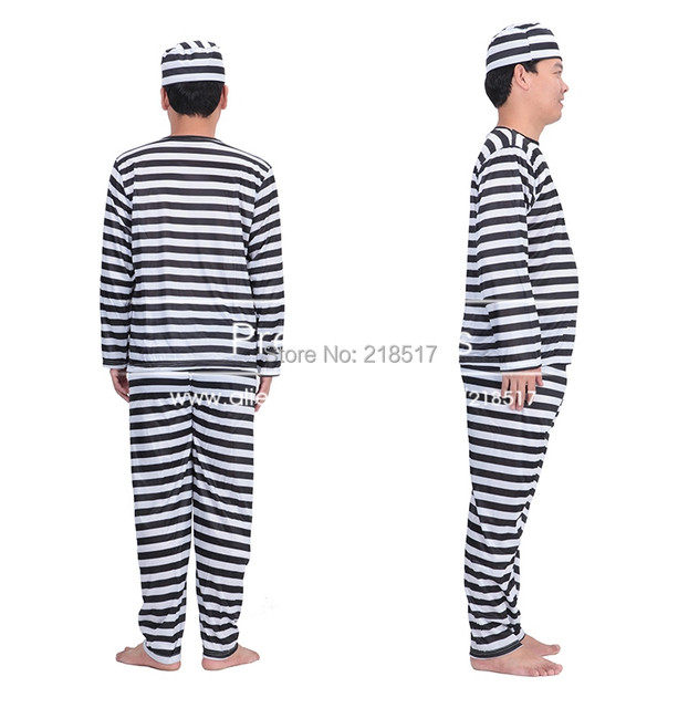 Free shipping menu0027s Prisoner convict Jailbird Fancy Dress Party Halloween Costume Cosplay UniformBlack White Striped F-0496  sc 1 st  Aliexpress & Online Shop Free shipping menu0027s Prisoner convict Jailbird Fancy ...