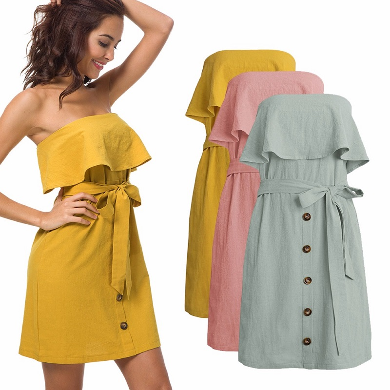 2019 Summer Sexy Dress Cotton and Hemp Women's Wear Lotus Leaf Strapless Chest Dress Cascading Ruffle Bow Empire Dress