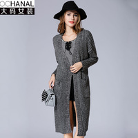 Large Size Women Autumn Sales Fashion High Quality Cashmere Long Cardigan Women V Neck New Design
