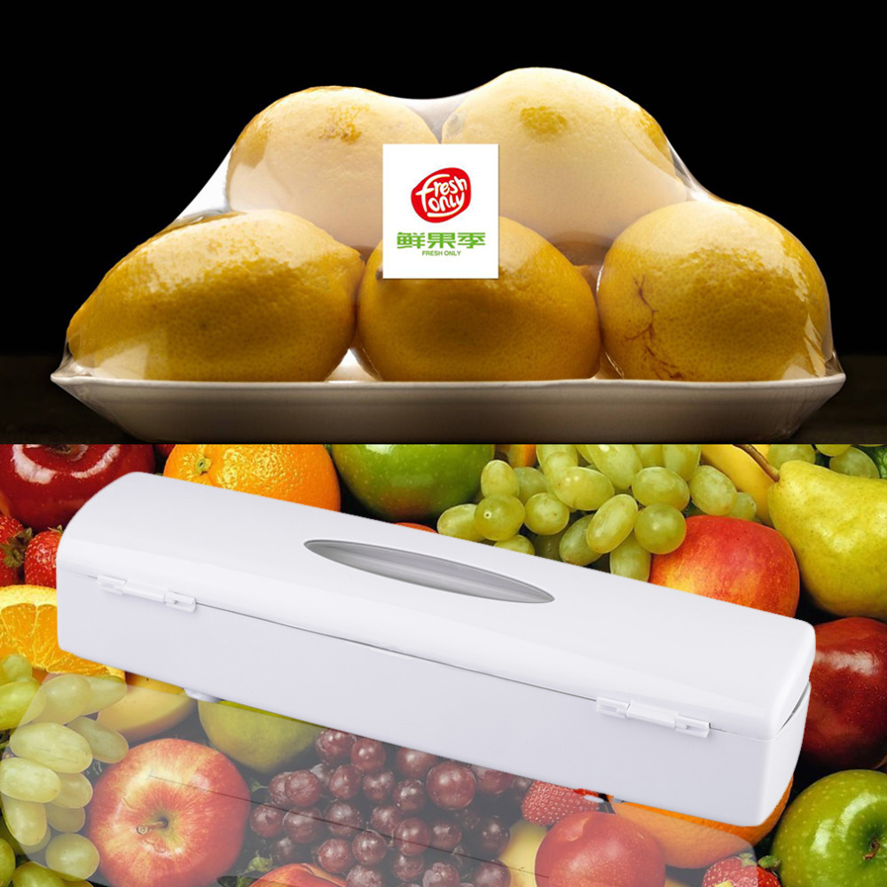 1Pc Kitchen Plastic Food Cling Wrap Foil Dispenser Cutter Preservative Film Tool
