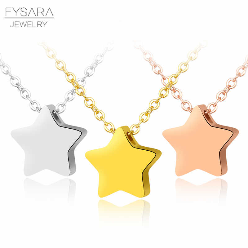 Simple Party Jewelry Silver Necklace Shiny Single Star Short Necklace Stainless Steel Jewelry Rose Gold-color Clavicle Necklace
