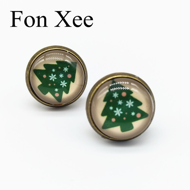 7375463bc75d4 US $2.5 |Fon Xee Xmas Tree Ear Studs for Little Girls Bronzed Plated 12mm  Glass Cabochon Post Earrings Birthday Gifts for Daughter FCS03-in Stud ...