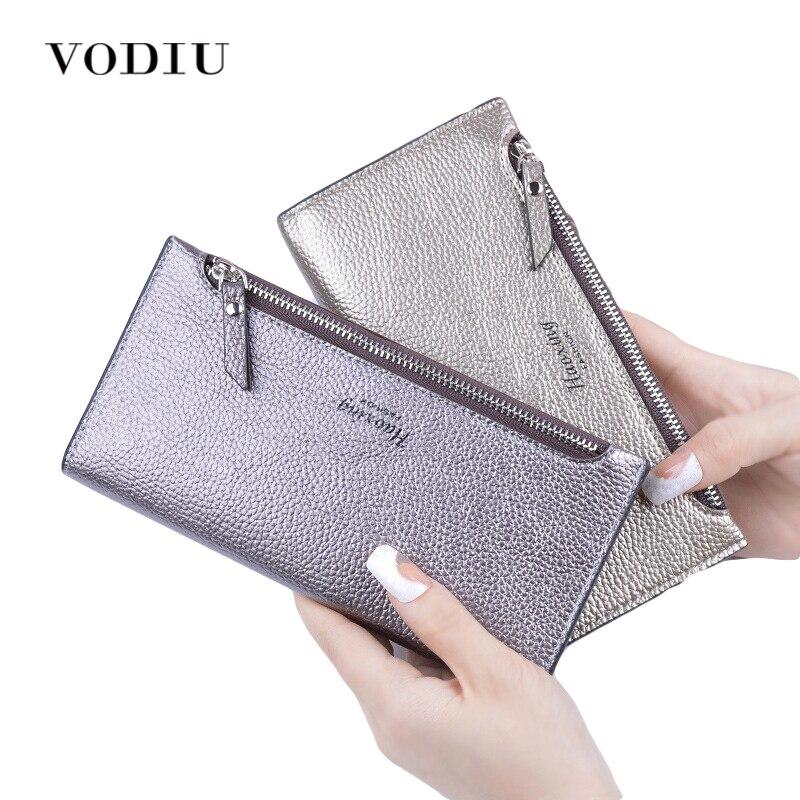 2018 Designer Zipper Women Leather Slim Long Wallet Female Purse Clutch Thin Wristlet Phone Coin Credit Card Holder Dollar Price