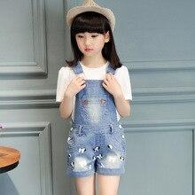2016 новый летний девочка комплект девушки подтяжк брюки и футболки комбинезон комбинезон childern джинсы футболки 16513