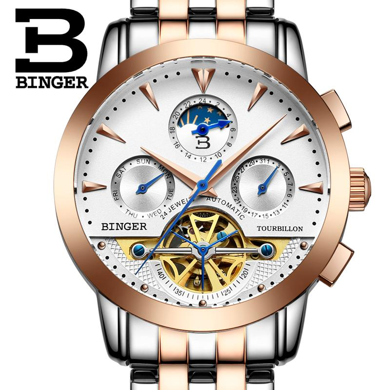 2017 NEW luxury men s font b watcheS b font BINGER brand Mechanical Wristwatches Moon Phase