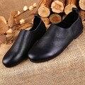 Top Qualidade do Couro Genuíno Das Mulheres Sapatos Flats 2016 Moda Sapatos De Couro Primavera Outono Sólidos Mulheres Dedo Do Pé Redondo Apartamentos Meninas f018