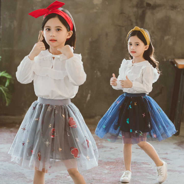 Baby Girls Clothing Sets Spring Autumn Kids Girls Children Cotton Blouse +Embroidery Tutu Skirt 2PCS Suit for age 2-11Y CA125 2018 girl summer sets new children s skirt 2pcs college chiffon clothing set white half sleeve blouse black long skirts suits
