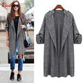 Fioday Long Tretch Coats for Women 4xl 5xl Fashion Gray Color Open Stitch Outerwear Woman Autumn Coat