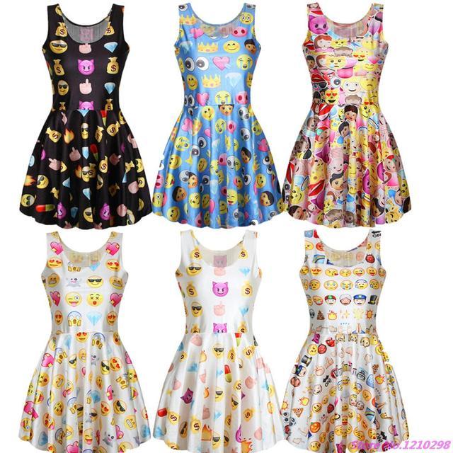 5f3497f5d573 Summer Style Cute Emoji Dress Women 3D Emoji Printed Pleated Beach Sundress  High Elastic O-Neck Sleeveless Mini Tennis Dress