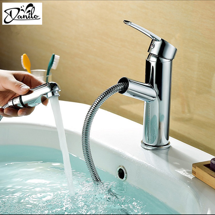 Pull spray out Bathroom Faucet Hot and Cold Brass Basin ...