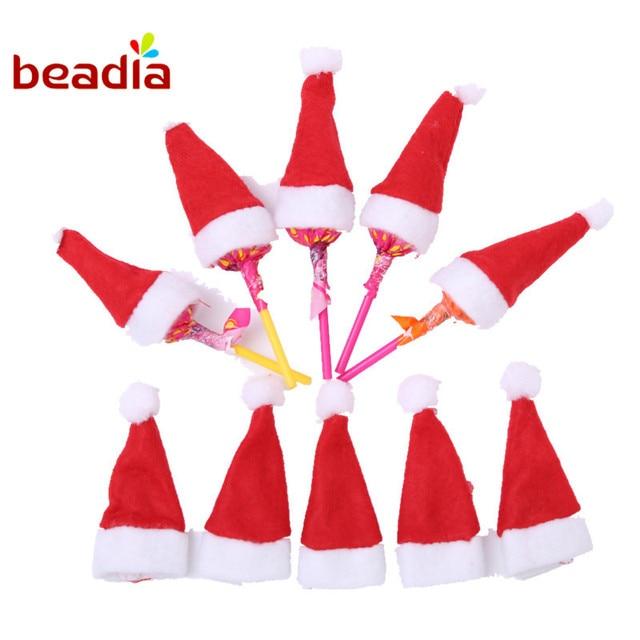 dff539c7fe359 30Pcs Hot Sale Mini Santa Claus Hat Christmas Xmas Holiday Lollipop Top  Topper Cover Festival Decor