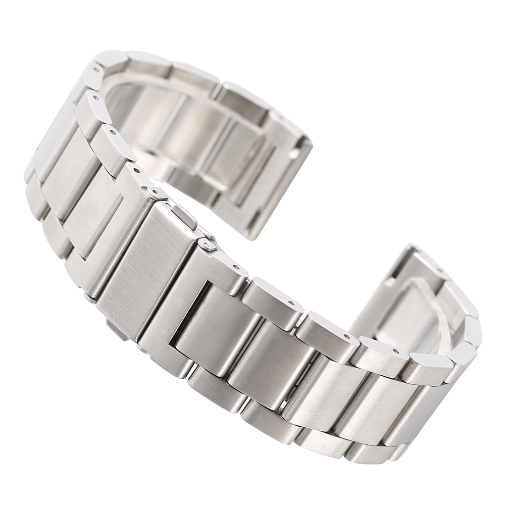 20/22mm Bracelet Clasp Replacement Stainless Steel Watch Band Men Solid Link Fashion Cool Silver/Black Men Women Watches Strap 28mm convex stainless steel watchband replacement watch band butterfly clasp strap wrist belt bracelet black rose gold silver