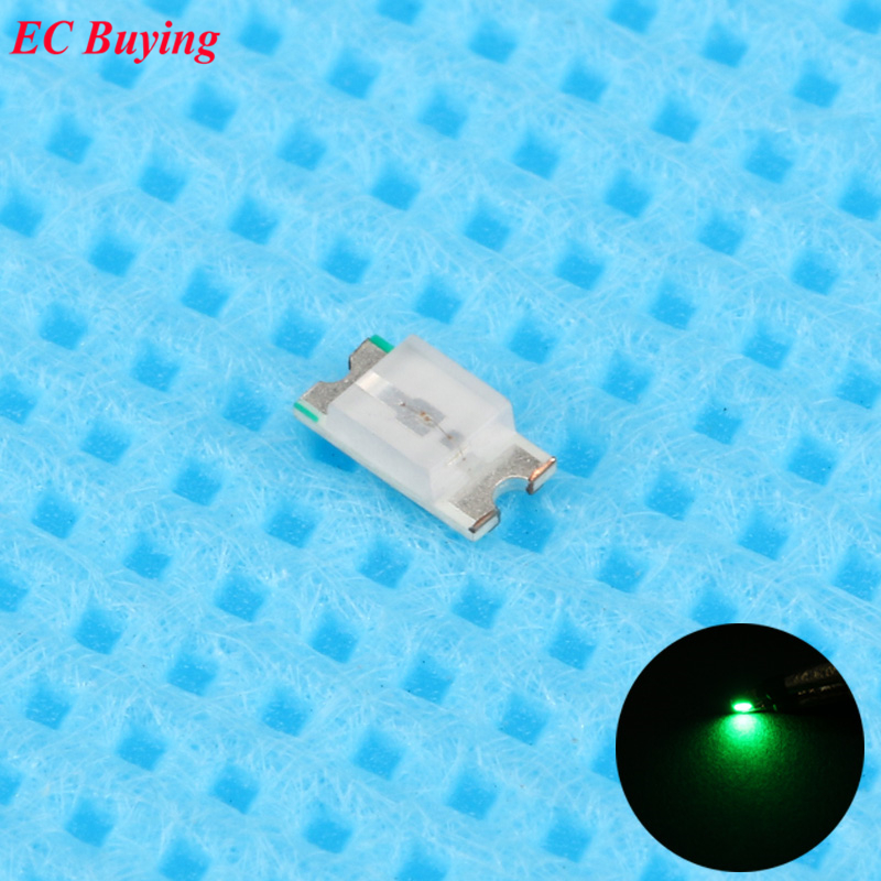 100pcs 0603 (<font><b>1608</b></font>) Green <font><b>LED</b></font> <font><b>SMD</b></font> Chip Bulb Lamp Surface Mount SMT Bead Ultra Bright Light Emitting Diode <font><b>LED</b></font> DIY Practice Hight image