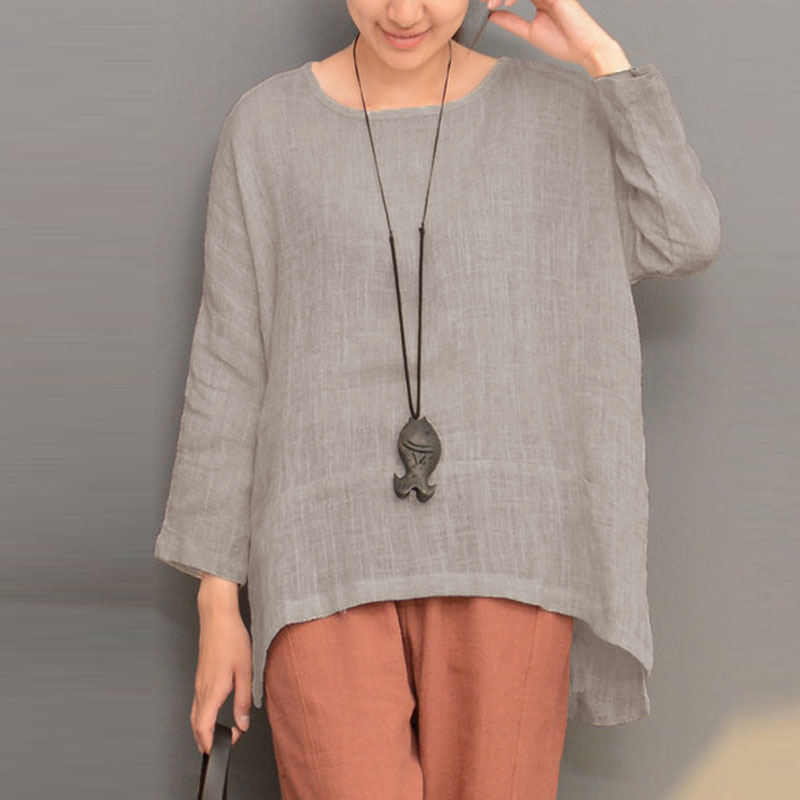 Celmia Cotton Linen Split Irregular Hem Blouse Long Sleeve Round Neck Solid Pullover Shirt Top Women Autumn Casual Retro Blusas