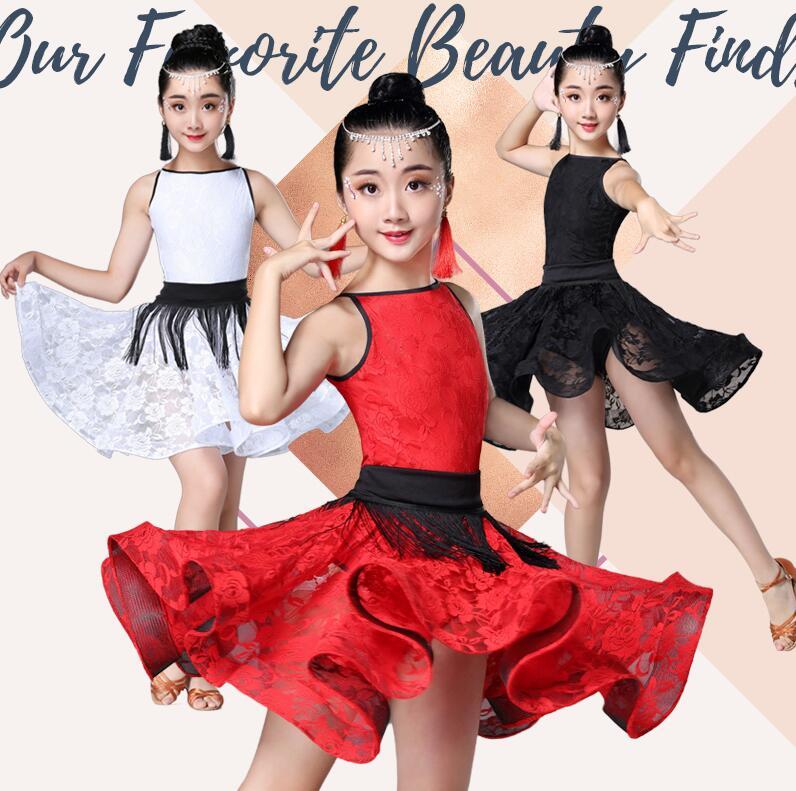 New Girl Short Sleeves Standard Latin Dance Dress Children Ballroom Dance Dresses Kids Salsa Rumba Cha Cha Samba Tango Dress