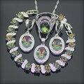 Ronda Arco Iris Mágico Creado Topaz 925 Plata de La Joyería Para Las Mujeres Pendientes/Colgante/Collar/Anillos/pulseras Caja Libre