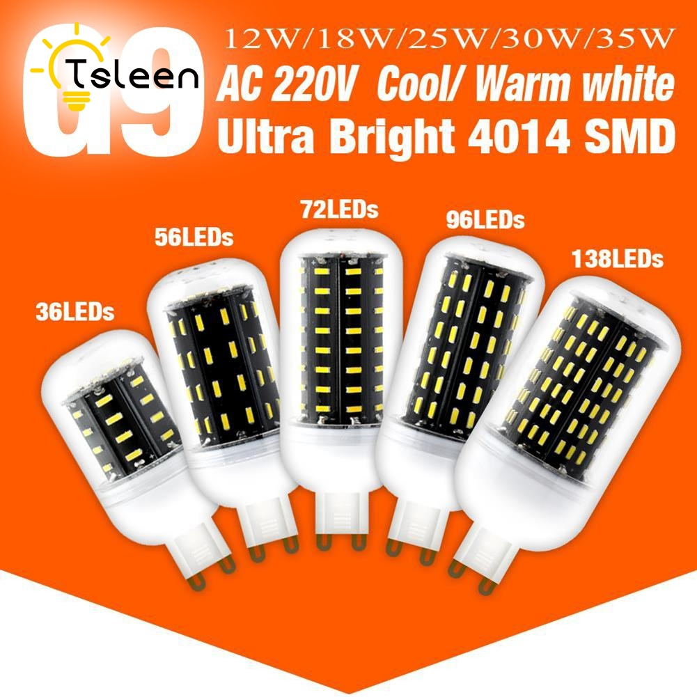 TSLEEN 5PC G9 LED Corn lamp Bulb light 220V 4014 SMD 36 56 72 96 Leds Led Light Bulb Cold White No Flicker 12W 18W 25W 30W 35W