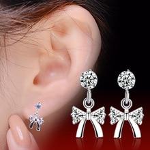 цена 100% 925 sterling silver fashion bowknot shiny crystal ladies`stud earrings jewelry female Anti allergy drop shipping gift в интернет-магазинах