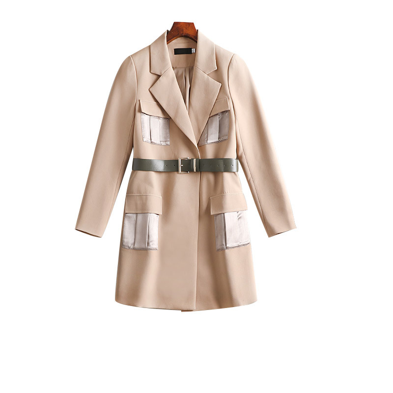 Plus Size Women   Trench   Coat 2018 Autumn New High Fashion   Trench   Coat Lapel New Design Solid With Belt Outerwear 4xl 5xl