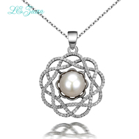 L Zuan Natural Freshwater Pearl Pendant Romantic Luxury 925 Silver Pendant Necklace For Women Sterling Sliver