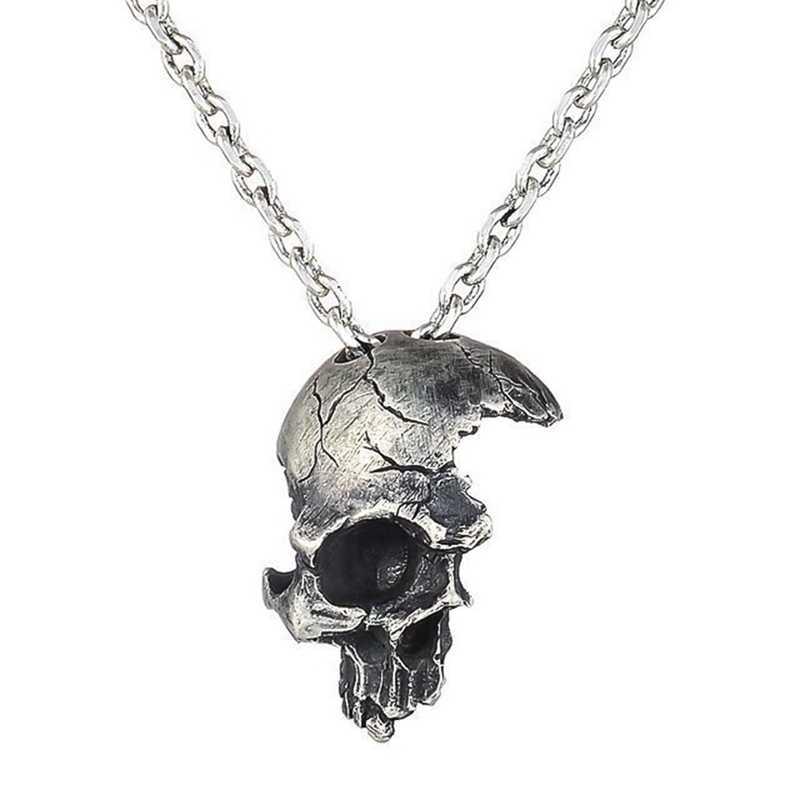 Zepsuty uszkodzony pół twarzy wisiorek z czaszką naszyjnik moda męska Biker Rock biżuteria punkowa antyczny kolor srebrny, długość łańcuszka 55cm