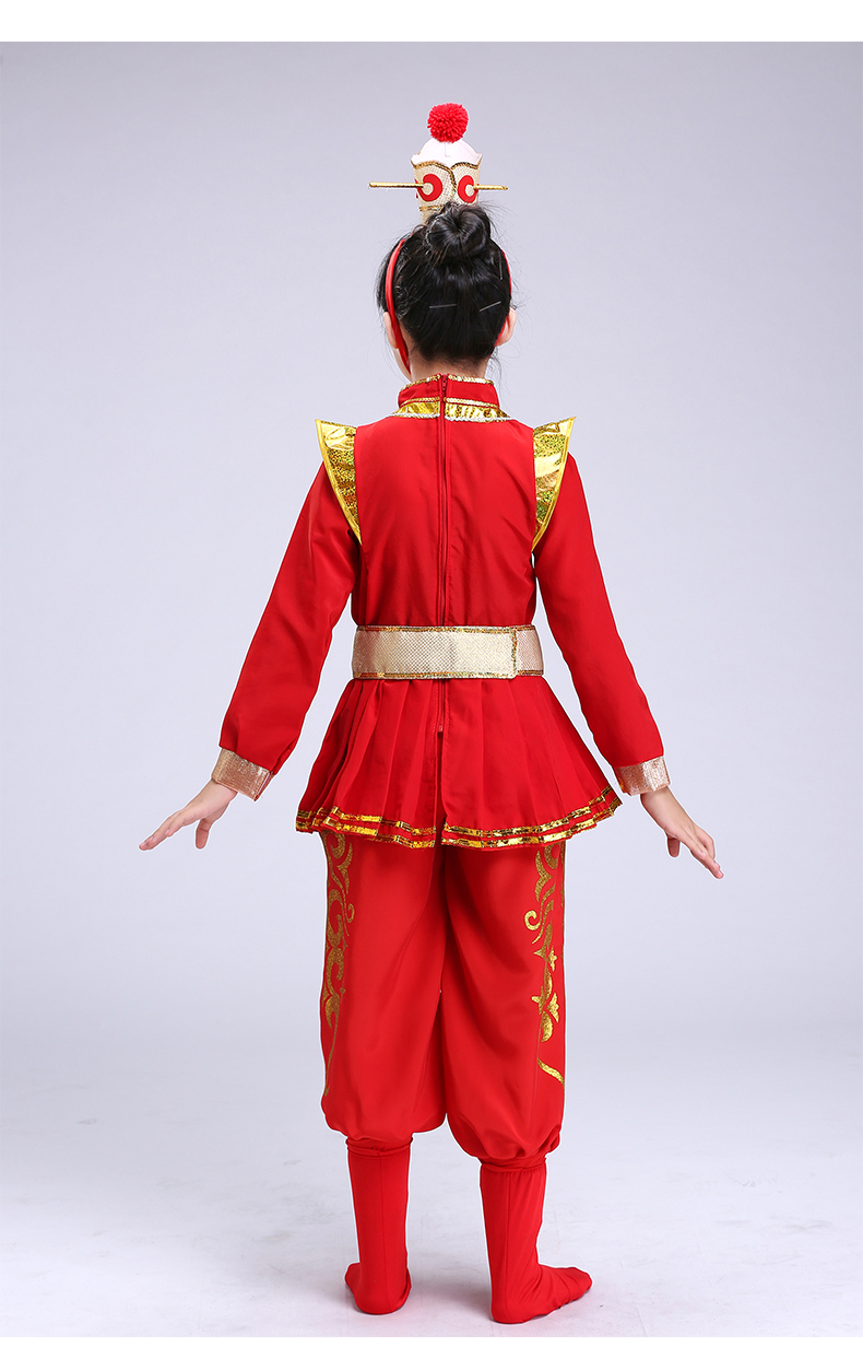 d2b5eaeb2 Mulan's performance costume children's drums female role in Chinese opera  costume girl cosplay costumes Mu Guiying red clothing-in Girls Costumes  from ...
