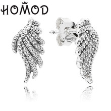 HOMOD Hot Sale Full Cubic Zirconia Majestic Feathers Stud Earrings For Women Original Brand Fine Jewelry 2019 New