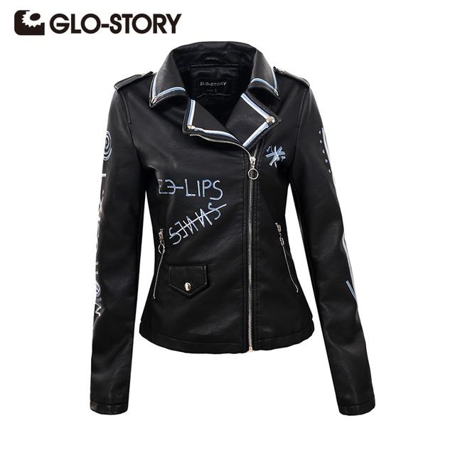3fc48ae382d GLO-STORY 2018 Womens Autumn Street PU Leather Jacket Zipper Epaulet Black  Slim Biker Fashion Basic Jacket Coats Female 5595