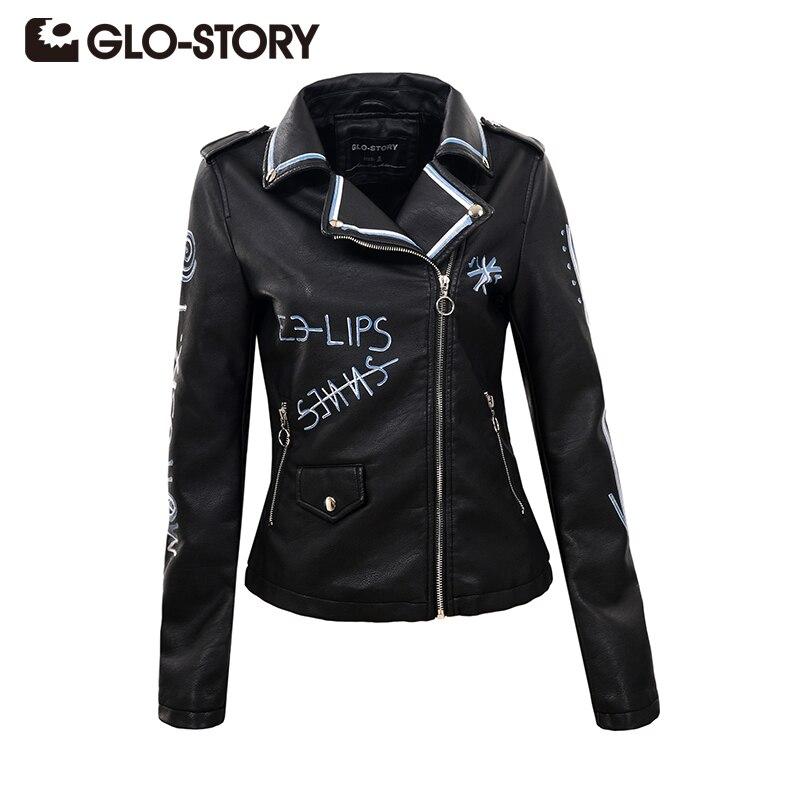 GLO-STORY 2018 Womens Autumn Street PU Leather   Jacket   Zipper Epaulet Black Slim Biker Fashion   Basic     Jacket   Coats Female 5595