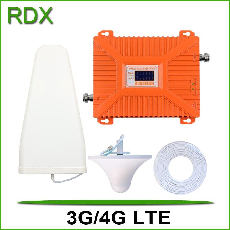 Nova faixa dupla 3g 4g lte celular impulsionador de alto ganho 70db celular 3g w-cdma 2100mhz umts 4g lte 2600mhz repetidor amplificador