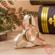 New Tri Fidget Hand Spinner Triangle Torqbar Brass Puzzle Finger Toy EDC Focus Fidget Spinner ADHD Austim Learning Toys Gold