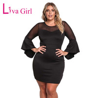 Liva Girl Female Mesh Bell Sleeve Bodycon Dress XXXL Women S Plus Size Sexy Mini Dresses