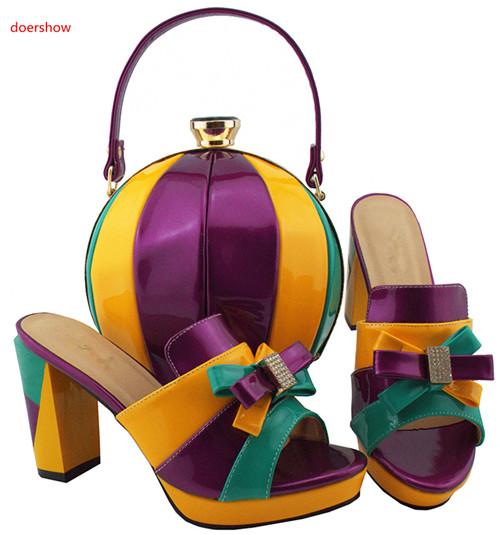 doershow new African Shoes and Matching Bags Italian Nigerian Women Wedding Shoes and Bag Set Party Shoes and Bag Sets HBL1-28 doershow latest african matching shoes and bag set beautiful design european ladies slipper and bags sets free shipping sgf1 45