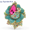 6 Colors Fashion Romantic Jewelry Green Crystal Rhinestone Rose Brooch Pin Pendant for Women Jewelry 5840