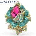 6 Cores Da Moda Romântico Jóias Verde Cristal Rhinestone Rose Broche Pin Pingente de Jóias para As Mulheres 5840
