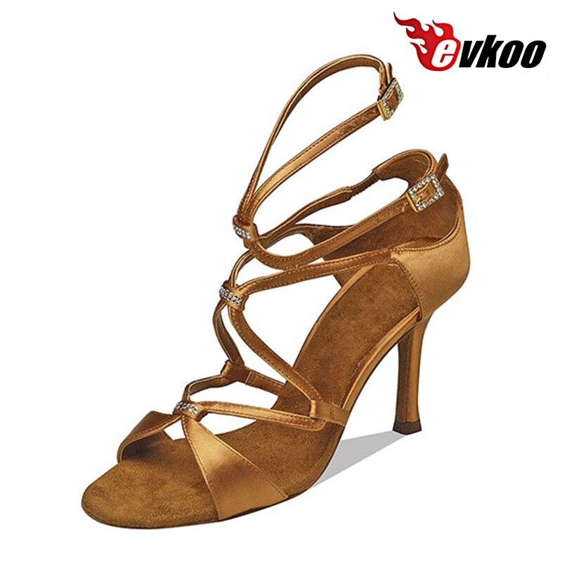 Evkoo Танцы 2017 коричневый, черный Цвет Туфли для латинских танцев для дам 8.3 см каблук удобный Salsa Обувь для танцев для дам evkoo-011