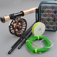 Carbon fly rod 9 ft 2.7m 4 section line wt 7/8# fishing rod and all metal Fly Reels Fly Fishing combo Fishing Kit fishing tackle