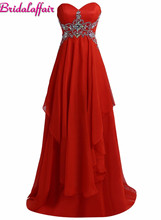 KapokBanyan Real Photo Red Chiffon Beads Sweetheart Prom Dresses 2017 Cheap Zipper Back Long Party Gown Simple Vestido de festa
